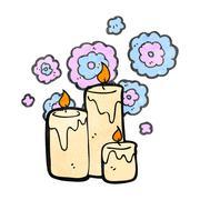 retro cartoon scented candles - stock illustration