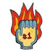 Stock Illustration of retro cartoon flaming foam sports hand