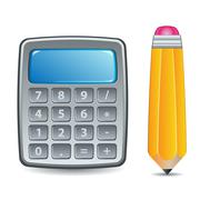 Calculator and Pencil - stock illustration