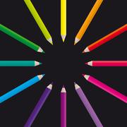 Pencils Color Wheel - stock illustration