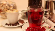 Stock Video Footage of Making red currant tea, fresh berry fruits, coffee, breakfast