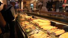 Sandwich shop in Paris Stock Footage