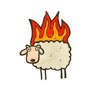 Stock Illustration of retro cartoon sheep on fire