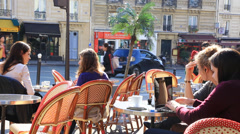 Girls in the coffee house in Paris - stock footage