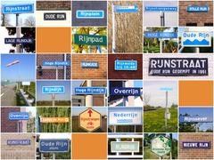 signs referring to river rhine - stock photo