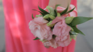 Stock Video Footage of Nice pink flower  accessory on the bridesmaid hand