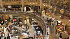 Inside of the Galeries Lafayette in Paris Stock Footage