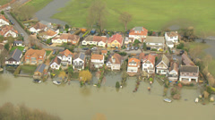 Extensive river flooding, Surrey, UK Stock Footage