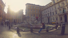 Young man on the piazza Navona,Rome - stock footage