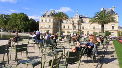 Sunny Luxembourg garden in central Paris Stock Footage