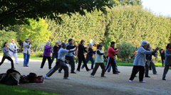 Tai Chi lesson in the Jardin de Plante garden in Paris Stock Footage