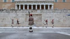 Evzones - Greek national guards near building of Parliament in Athens Stock Footage