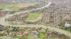 Extensive river flooding, Surrey, UK Stock Footage