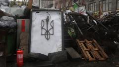 Barricades on the Khreshchatyk street - main street of Kiev, Ukraine Stock Footage