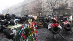 People near barricades on the Khreshchatyk street - main street of Kiev, Ukraine Stock Footage