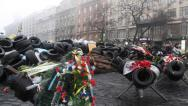 Stock Video Footage of People near barricades on the Khreshchatyk street - main street of Kiev, Ukraine