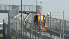 A Personal Rapid Transport (PRT) pod at London Heathrow Airport, UK. Stock Footage