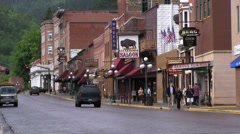 Streets of downtown Deadwood town Stock Footage