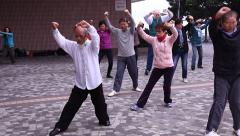 Tai Chi balancing class and martial arts instruction in Hong Kong Stock Footage