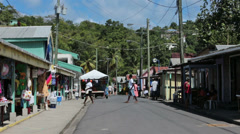Soufriere St Lucia fishing village tourist shops HD 1565 Stock Footage