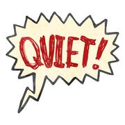 retro cartoon comic book shout for quiet - stock illustration