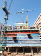 construction site of private apartments - stock photo
