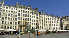 Place des Terraux (1) and the The Hôtel de Ville - Lyon France Stock Footage