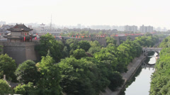 Xi'an city wall and City Moat, Shaanxi, China - stock footage