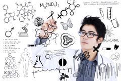 male doctor writing formula - stock illustration