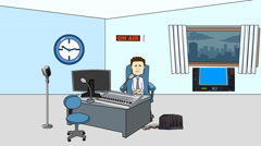 Broadcasting Studio Animation:  Looping Stock Footage