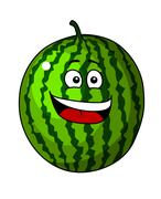 happy refreshing green cartoon watermelon - stock illustration