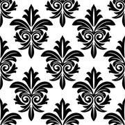 bold foliate arabesque motif in black and white - stock illustration