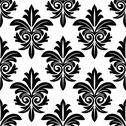 Stock Illustration of bold foliate arabesque motif in black and white