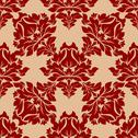 Stock Illustration of damask style floral pattern in red