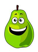 fresh green cartoon pear with a toothy grin - stock illustration