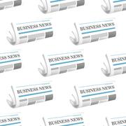 pattern of folded business news newspapers - stock illustration
