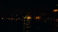 Redentore boat canal night 01 - stock footage