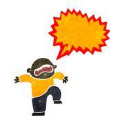 retro cartoon boy having temper tantrum - stock illustration