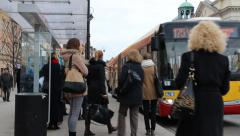 Warsaw, Poland. People board the city bus. Old  town in Warsaw. Stock Footage
