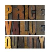 Price value quality Stock Photos