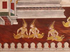 wall art painting in temple thailand. painting about ramayana epic story. - stock photo