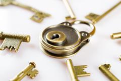 copper keys and locks - stock photo