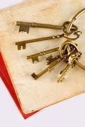 old keys on old book - stock photo