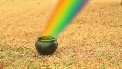 Leprechaun gold pot of gold rainbow Stock Footage