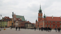 Warsaw. King Sigismund column and the Royal Castle. UNESCO heritage site. Stock Footage