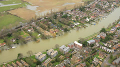 Rain stormy weather river flooding, England, UK Stock Footage