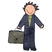 child's drawing of a dad going to work - stock illustration