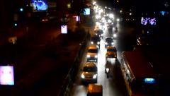 Night shot of busy traffic of Kolkata Stock Footage
