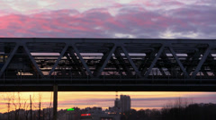 Sunset Urban Metro Train Railway Bridge Stock Footage
