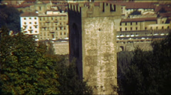 Medieval Tower Florence Italy Vintage Stock Footage